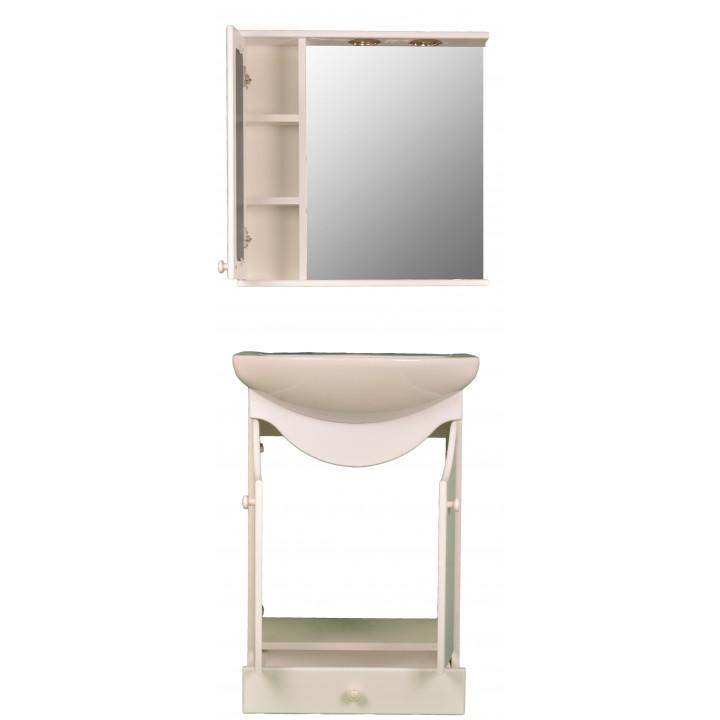 Mobila de baie cu oglinda alb - MBALB060 - www.MobilierPentruBaie.ro