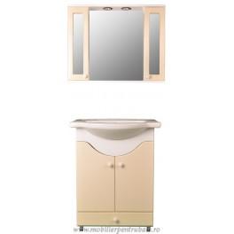 Mobila de baie cu oglinda crem - MBC070
