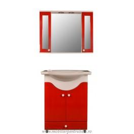 Mobila de baie cu oglinda rosu - MBR070